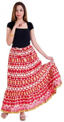 Sunshine Floral Print Women's Regular Red Skirt