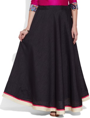 Very Me Solid Women's A-line Black Skirt