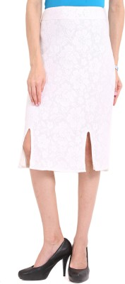Ridress Solid Women's Regular White Skirt