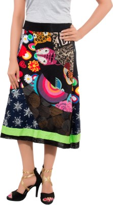 Feminine Self Design Women's A-line Multicolor Skirt