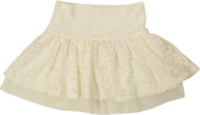 NOQNOQ Printed Girl's A-line White Skirt