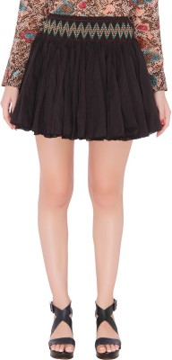 The Beach Company Embroidered Women,s Gathered Black Skirt