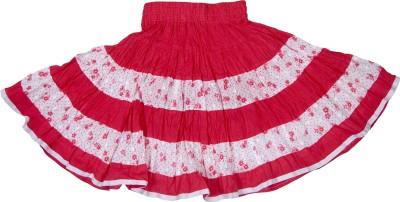 Retaaz Floral Print Girl's Broomstick Pink, White Skirt