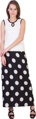 Essential Elements Polka Print Women's Gathered Black Skirt