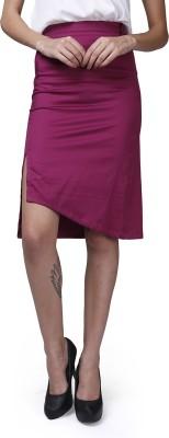 GarrB Solid Women's Pencil Maroon Skirt