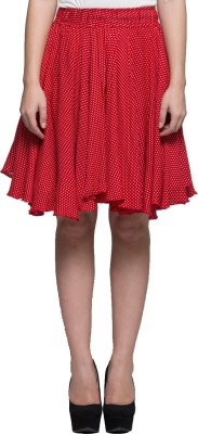 Tryfa Polka Print Women's Regular Red Skirt