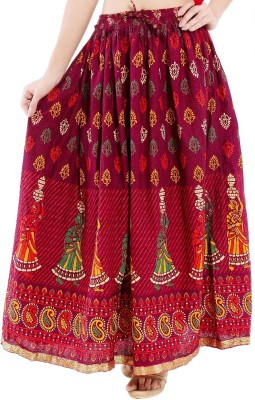 Kanak Self Design Women's Regular Maroon Skirt