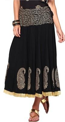 Ira Soleil Printed Women's Gold, Black Skirt