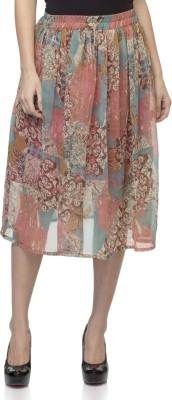 Tara Lifestyle Printed Women's Gathered Multicolor Skirt