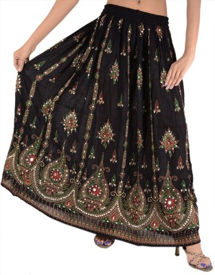 Skirts & Scarves Embellished Women's Broomstick Black Skirt
