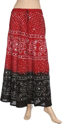 Ooltha Chashma Printed Women's Broomstick Red, Black Skirt