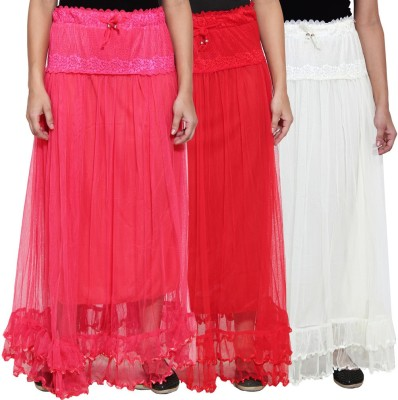 NumBrave Self Design Women's Layered Pink, Red, White Skirt