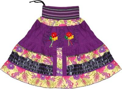 Adaab Floral Print Girl's Layered Purple Skirt