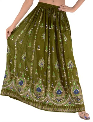 Skirts & Scarves Embellished Women's Broomstick Green Skirt