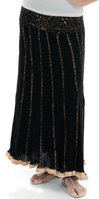 Naksh Jaipur Self Design Women,s Broomstick Black Skirt