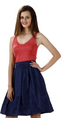 Miss Chase Solid Women's Tulip Blue Skirt