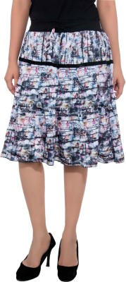 Feminine Printed Women's Regular Multicolor Skirt