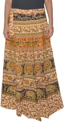 Shreeka Printed Women's Wrap Around Brown, Yellow Skirt