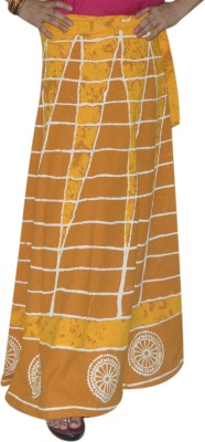 Marusthali Printed Women,s Wrap Around Yellow Skirt