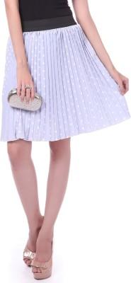 Sassafras Polka Print Women's Pleated Blue, White Skirt