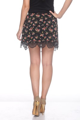 Sixes and Sevens NYC Floral Print Women's Gathered Black Skirt