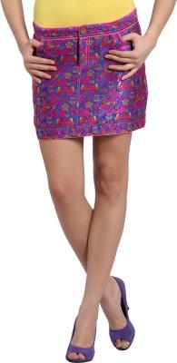 Desi Weaves Woven Women's Straight Blue, Red Skirt