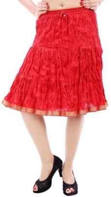 Vivancreation Embroidered Women's Regular Maroon Skirt
