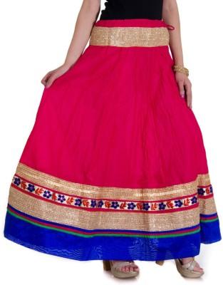 Ooltah Chashma Self Design Women's Broomstick Pink, Blue Skirt