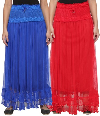 NumBrave Self Design Women's Layered Blue, Red Skirt