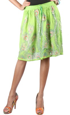 Indiankala4u Printed Womens Broomstick Green Skirt