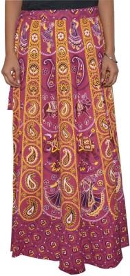 Shreeka Printed Women's Wrap Around Purple, White Skirt