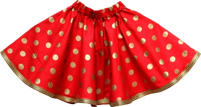 Little Leaf Polka Print Girl's Gathered Red Skirt