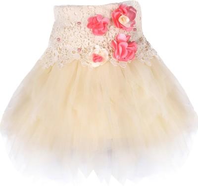Cutecumber Embellished Baby Girl's Asymetric Beige Skirt
