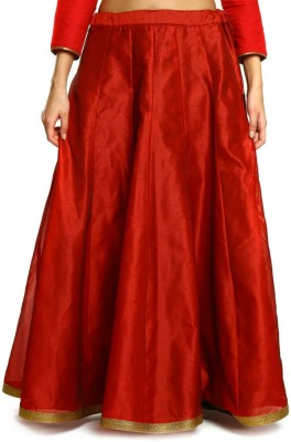 HOOR Solid Women's A-line Red Skirt
