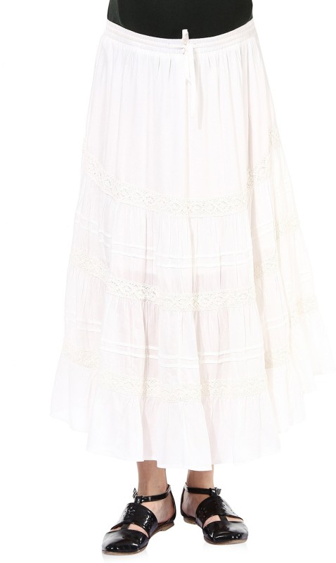 Oxolloxo Solid Women's A-line White Skirt
