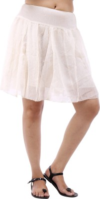 Avon Apparels Solid Women's A-line White Skirt