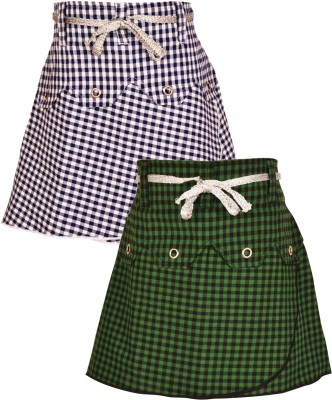 Gkidz Checkered Girl's A-line Blue, Green Skirt