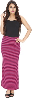 Franclo Striped Women,s Pencil Pink, Black Skirt