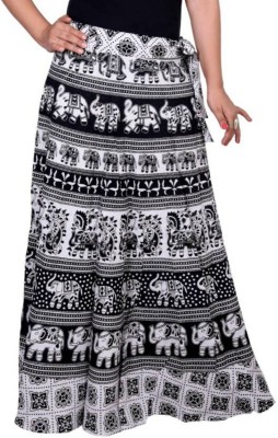 BuyNewTrend Animal Print Women's Wrap Around Black, White Skirt at flipkart