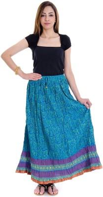 RV COLLECTION Floral Print Women's Regular Light Blue Skirt