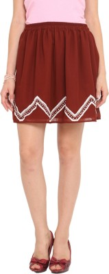 Ama Bella Solid Women's A-line Brown Skirt