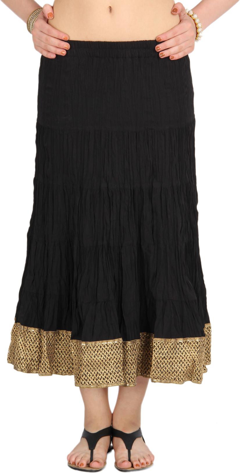 Mina Bazaar Self Design Womens A-line Black, Gold Skirt