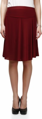 Legis Solid Women's Regular Maroon Skirt