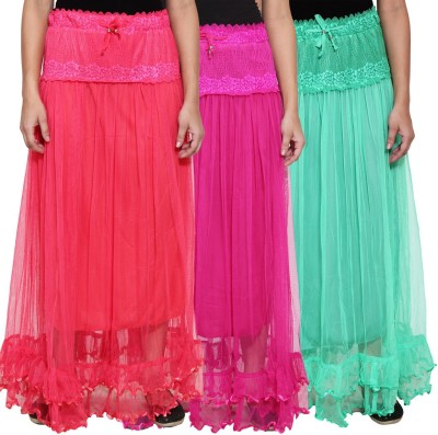 NumBrave Self Design Women's Layered Pink, Purple, Green Skirt