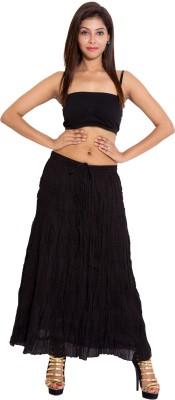 Wardtrobe Solid Women's Regular Black Skirt