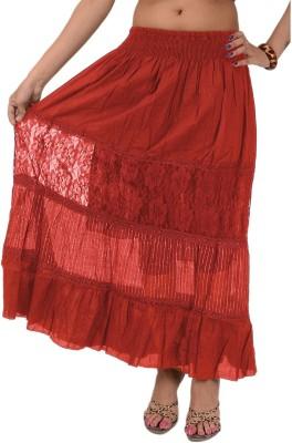 Skirts & Scarves Solid Women's Broomstick Maroon Skirt
