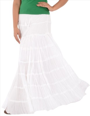 Skirts & Scarves Solid Women's Tiered White Skirt