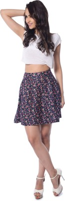 Florriefusion Floral Print Women,s Pleated Dark Blue Skirt