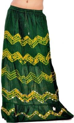 Indiangiftemporium Printed Women's Regular Green, Yellow Skirt