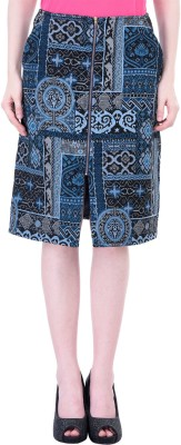 Oxolloxo Printed Women's A-line Blue Skirt at flipkart